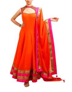 Orange & Hot Pink Anarkali Suit   TashanCouture