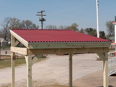 Red ONDURA Corrugated Roofing Sheets On The Roof Of This Bandstand At City  Stadium In Richmond