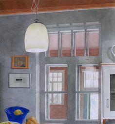 Winter kitchen Komis - Marjatta Hanhijoki , 2017 Finnish, watercolour, 130 x 130 cm. Candle Sconces, Wall Lights, Candles, Watercolour, Arch, Winter, Kitchen, Home Decor, Pen And Wash