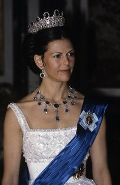 HM Queen Silvia of Sweden wearing the Leuchtenberg Sapphire Parure from the Swedish Royal Jewels