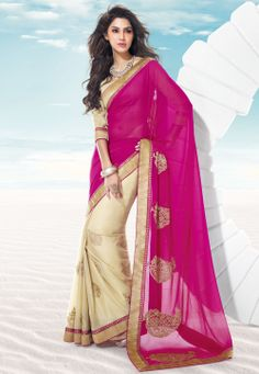 Dark Pink and Beige Faux Georgette and Faux Crepe Saree with Blouse @ $85.23