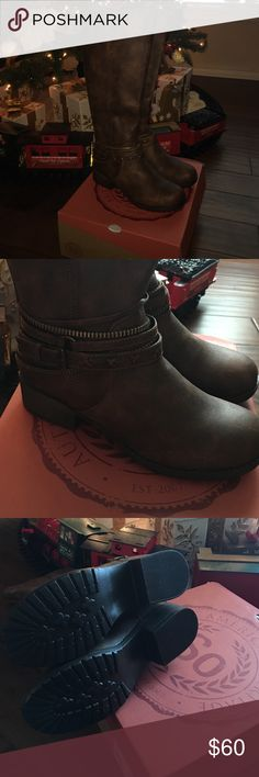 Just In Tall boots Brand new in box adorable boots! Boots have leather and zipper style wrap close to the ankle area and zip up from the back. I'm 5'5 and they hit right under my knee. They've never been worn and only one boot has been tried on. Short heel, very comfy! Received as gift but not quiet what I was looking for. Sticker price is 80.00. NO TRADES OR HOLDS/ OPEN TO OFFERS Shoes