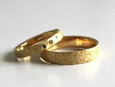 Fair Wedding bands Set-Fairmined Gold 14-Conflict free Diamonds-Brown-Golden&Blue Diamonds-Gold Custom Wedding Rings-Sustainable Wedding