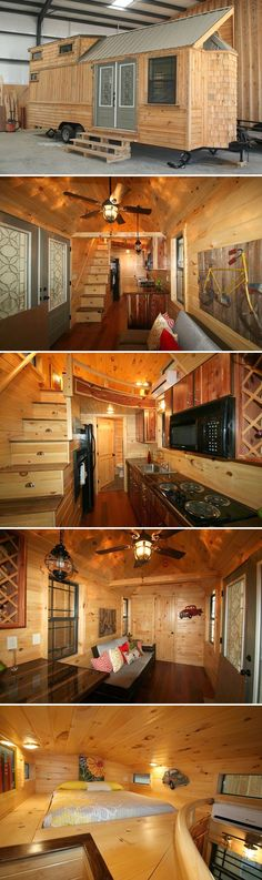 This 260 sq.ft. tiny house features custom cedar cabinets trimmed with black walnut, black walnut countertops, and rosewood flooring. Asking price: $65,000. Tiny House Cabin, Tiny House Living, Tiny House Plans, Tiny House Design, Tiny House On Wheels, Small Living, Living Room, Loft Design, Living Area