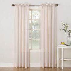 """No. 918 Erica Crushed Texture Sheer Voile Rod Pocket Curtain Panel, 51"""" x 84"""", Whisper Pink"""