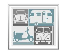 Retro Things that Go. Cross Stitch Pattern by tinymodernist