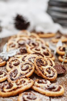 Palmiers made with chocolate and Nutella.