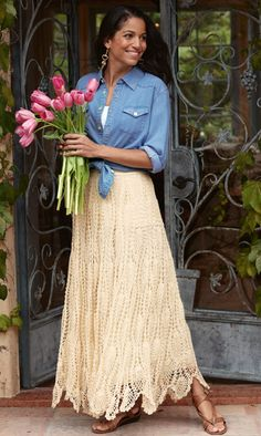 crochet lace and denim together. LOVE! Have a similar skirt and have the shirt!