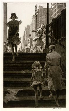 transistoradio:  Martin Lewis (1881-1962), Subway Steps (1930), drypoint on paper, 20.8 x 34.6cm (plate). Collection of Smithsonian America...
