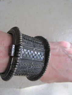 Vintage Rare Silver Orissa Bracelet Wide Indian Tribal by Anteeka