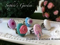 Polymer clay rings by Sophie's Garden.http://sophiesenchantedgarden.weebly.com/