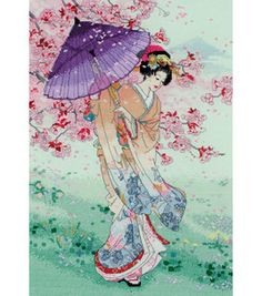 "Yumekazura (Umbrella) - 15.5"" x 10.5"", counted cross-stitch :: I love these Japanese designs, especially with the cherry blossoms. =)"