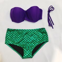 Little Mermaid Ariel Bikini high waisted two piece So cute metallic purple little mermaid bikini! Has halter type top, should fit 32-34 b. Straps are removable. Bottoms are fairly high waisted. Brand new, never worn, no tags. Swim Bikinis