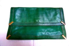 Italian Leather Clutch Purse green leather 1980 by blingblingfling