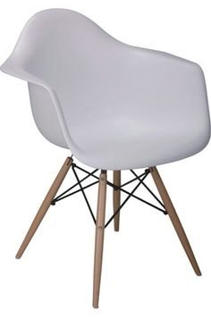 Eames tub chair in plastic with natural wooden dowel legs.