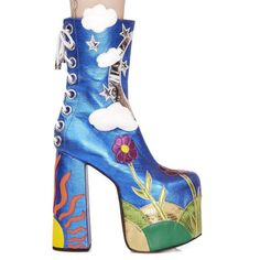 Current Mood by Dolls Kill Landscape Platform Boots In Blue Multi... (€84) ❤ liked on Polyvore featuring shoes, boots, vintage shoes, blue shoes, blue platform boots, blue platform shoes and platform shoes