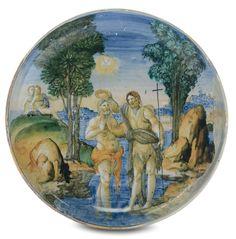 Sottocoppa in maiolica a decoro istoriato raffigurante il battesimo di Cristo, Faenza XVI secolo