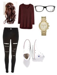 """""""Cute Date Outfit"""" by joselyn-rodriguez377 on Polyvore featuring River Island, Converse, Ray-Ban and Michael Kors"""