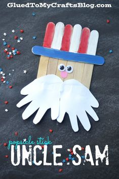 Memorial Day Crafts For Kids Discover Popsicle Stick Uncle Sam - Kid Craft Popsicle Stick Uncle Sam Kid Craft - give an All-American salute to summertime with our simple and inexpensive popsicle stick tutorial! 4th July Crafts, Fourth Of July Crafts For Kids, Patriotic Crafts, Fouth Of July Crafts, Daycare Crafts, Toddler Crafts, Preschool Crafts, Kids Crafts, Craft Kids