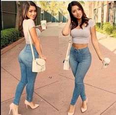 Long waist jeans and short top, casual, perfect for a date . Sexy and girly