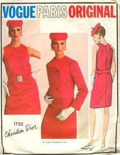 Vogue Paris Original 1725; 1960s; Christian Dior - One-Piece Dress and Jacket. Straight shift...