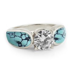 Turquoise Diamond Engagement Ring....I love turquoise and I love this ring its soo different