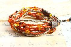 Hippie Gypsy 2x Wrap Beaded Bracelet / Short Bohemian Necklace / Macrame Jewellery / Ethnic Boho Chic Bracelet