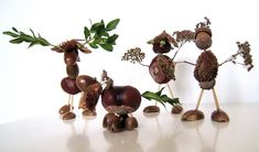 Crafts: fun figures of chestnuts and other materials bunching Autumn Crafts, Nature Crafts, Crafts To Do, Diy Crafts For Kids, Fall Art Projects, Conkers, Nature Table, Classroom Crafts, Autumn Activities