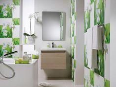 Salle de bain design floral chez Saint Maclou
