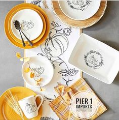 With its simple sketch art motif, our pumpkin dinnerware fits right in with today's urban farmhouse style. Crafted of stoneware exclusively for Pier it's a design both modern and versatile enough for your special and everyday autumn tablescapes. Thanksgiving Table Settings, Thanksgiving Tablescapes, Thanksgiving Ideas, Homemade Apple Butter, White Pumpkins, Food Crafts, Votive Candles, Table Runners, Dinnerware