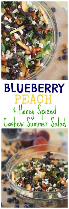 Add my yummy Blueberry, Peach & Honey Spiced Cashew Summer Salad recipe to your go-to salad recipe list! #BCBlueberries #ad