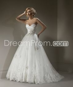 Gorgeous A-line Sweetheart Sleeveless Floor-Length Court Train Embroidery Wedding Dresses