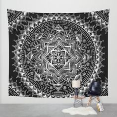 Buy White Flower Mandala on Black Wall Tapestry by Laurel Mae. Worldwide shipping available at Society6.com. Just one of millions of high quality products available.