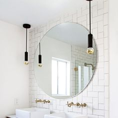Bare Bulb Lighting Idea: simple hanging bulb pendant in front of a mirror or above a nightstand. Bathroom Red, Small Bathroom, Bathroom Ideas, Bathroom Inspo, Bathrooms, Master Bathroom, Mirror Bathroom, Bathroom Makeovers, Basement Bathroom