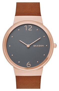 Women's Skagen 'Freja' Leather Strap Watch, 34mm