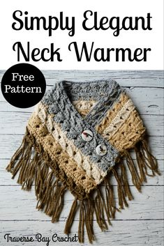 Simply Elegant Crochet Neck Warmer - Simply Elegant Crochet Neck Warmer - Learn the basics of how to Crochet Poncho, Crochet Scarves, Crochet Clothes, Crochet Stitches, Crochet Shrugs, Crochet Crafts, Easy Crochet, Free Crochet, Crochet Neck Warmer