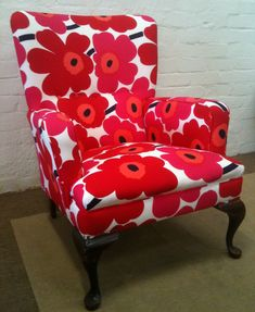 I have always been a Marimekko fan. Come by it honestly.from one Mary to another! Unikko Upholstered Chair by Impressions Upholstery & Design (Melbourne) Chair Upholstery, Upholstered Furniture, Painted Furniture, Funky Chairs, Colorful Chairs, Marimekko, Comfy Reading Chair, Patterned Chair, Chair And A Half