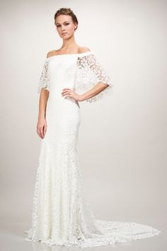 lacy off the shoulder wedding gown from theia