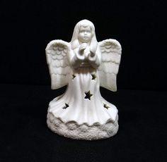 HERMITAGE POTTERY White Angel Tea Light Candle Holder by KatsCache
