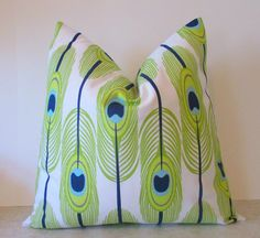 NEW Collection Pillow Navy Lime Green  Feather All  by soSarahsews, $13.95