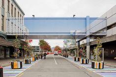 """Deconstruction"", Cnr Colombo St & Cashel Mall, Christchurch, NZ (by Mike Hewson) Sky Bridge, Eco Architecture, Photo Mural, Bridge Design, Illusion Art, Deconstruction, Land Art, Optical Illusions, Urban Art"