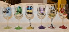 Fun hand painted Wizard of Oz wine glasses.