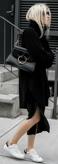 Figtny + gorgeous cable knit pullover + midi skirt + white sneakers + monochrome style + eye catching and chic + give it a try!   Skirt: Third Form, Sweater: Hope, Bag: J.W Anderson, Sneakers: Marant.