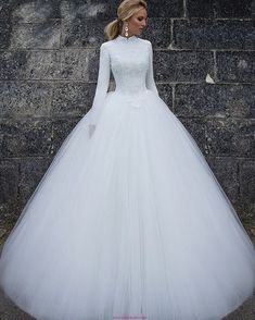 vintage wedding dresses 2020 long sleeve high neck lace appliques ball gown bridal dresses vintage wedding gowns muslim vestidos de noiva - Tesettür Şalvar Modelleri 2020 - Tesettür Modelleri ve Modası 2019 ve 2020 Muslim Wedding Dresses, Modest Wedding Dresses, Bridal Dresses, Princess Wedding Dresses, Gown Wedding, Wedding Reception, Formal Dresses, Lace Wedding, Winter Wedding Dress Ballgown