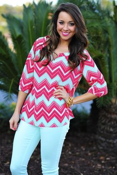 Sweet As Candy Top: Pink/Mint