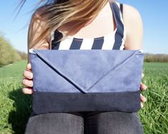 Blue-black clutch/ envelope bag by Apozi on Etsy