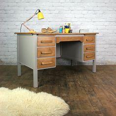 Vintage Painted Oak Twin Pedestal Desk