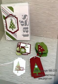 Jan Girl: Stampin' Up Lots of Joy, Merry Moments Christmas In July Tags, Wine Topper and gift card holder Holiday Gift Tags, Holiday Cards, Candy Cards, Gift Cards, Cards Diy, Handmade Gift Tags, Christmas Paper, Christmas Wrapping, Paper Tags