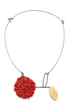 """Myung Urso  Hymn Necklace in silk, coral, thread, 23k gold leaf, sterling silver and lacquer. Approx. 9 1/4"""" tall."""