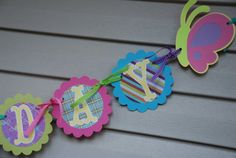 Flower Power Garden Party Birthday Banner  by PinkGrapefruitDesign, $33.00  Bee, butterfly birthday party